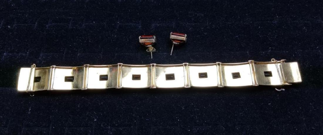 Gold Bracelet w/ Rio Grand Quartz & Earrings Set - 5