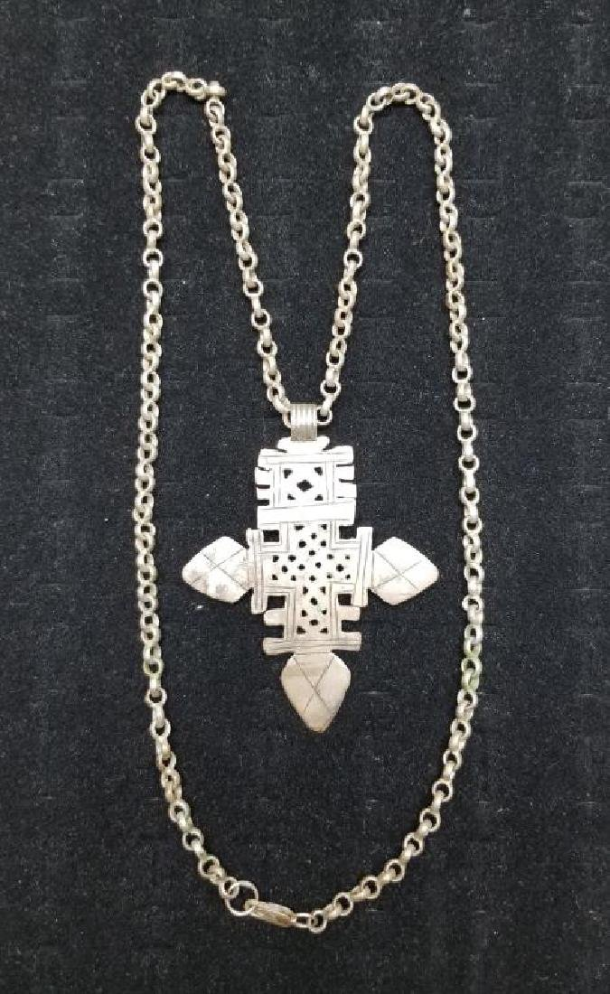 Egyptian Style Cross Necklace w/ Silver Clasp