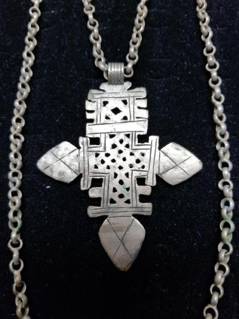 Egyptian Style Cross Necklace w/ Silver Clasp - 2