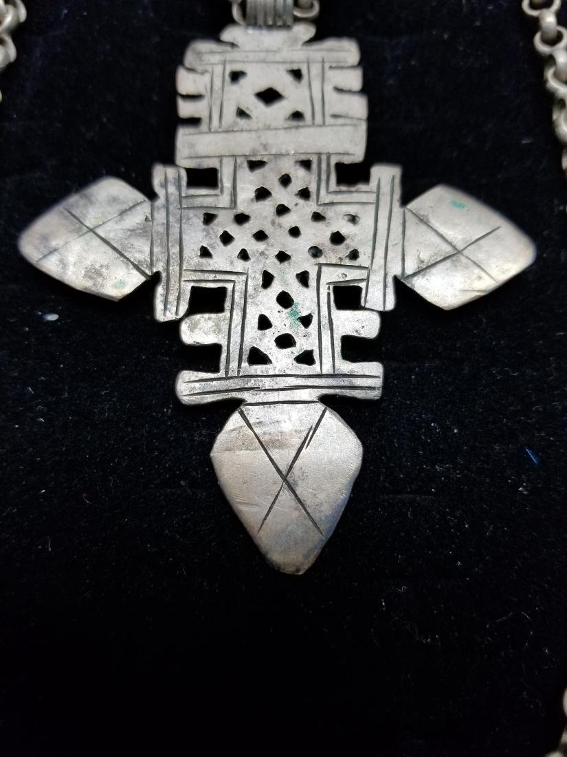 Egyptian Style Cross Necklace w/ Silver Clasp - 3