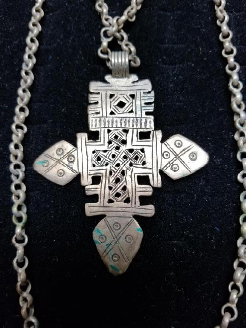 Egyptian Style Cross Necklace w/ Silver Clasp - 4