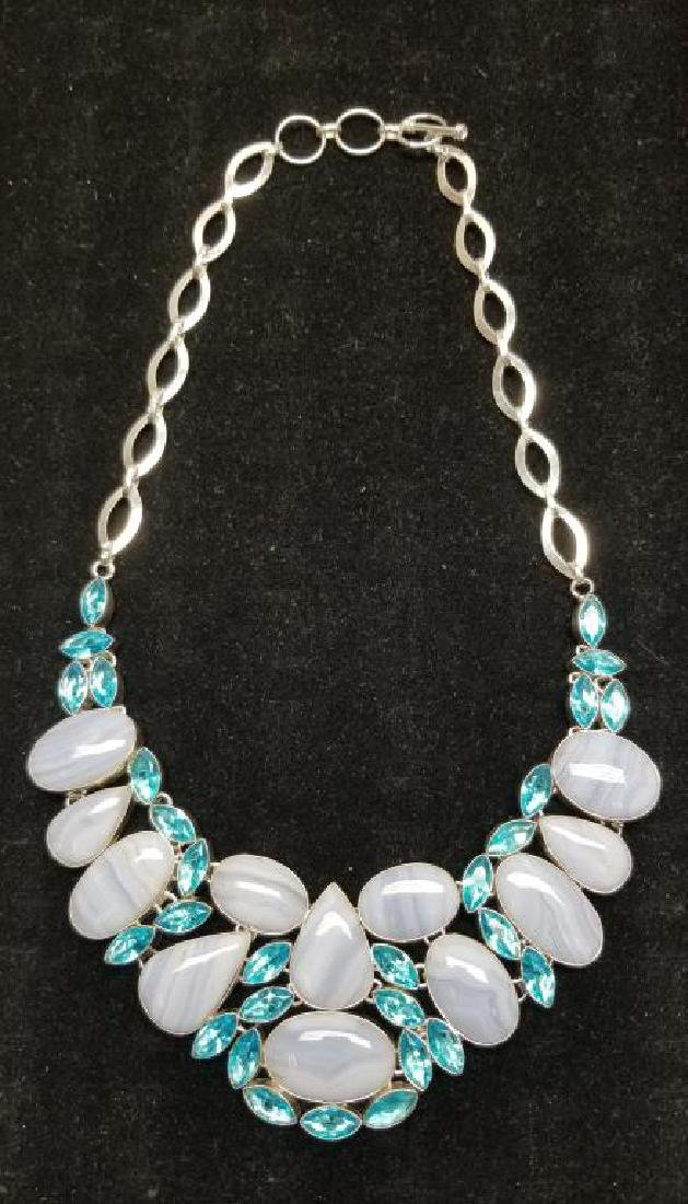 Sterling Necklace w/ Lace Agate & Blue Topaz