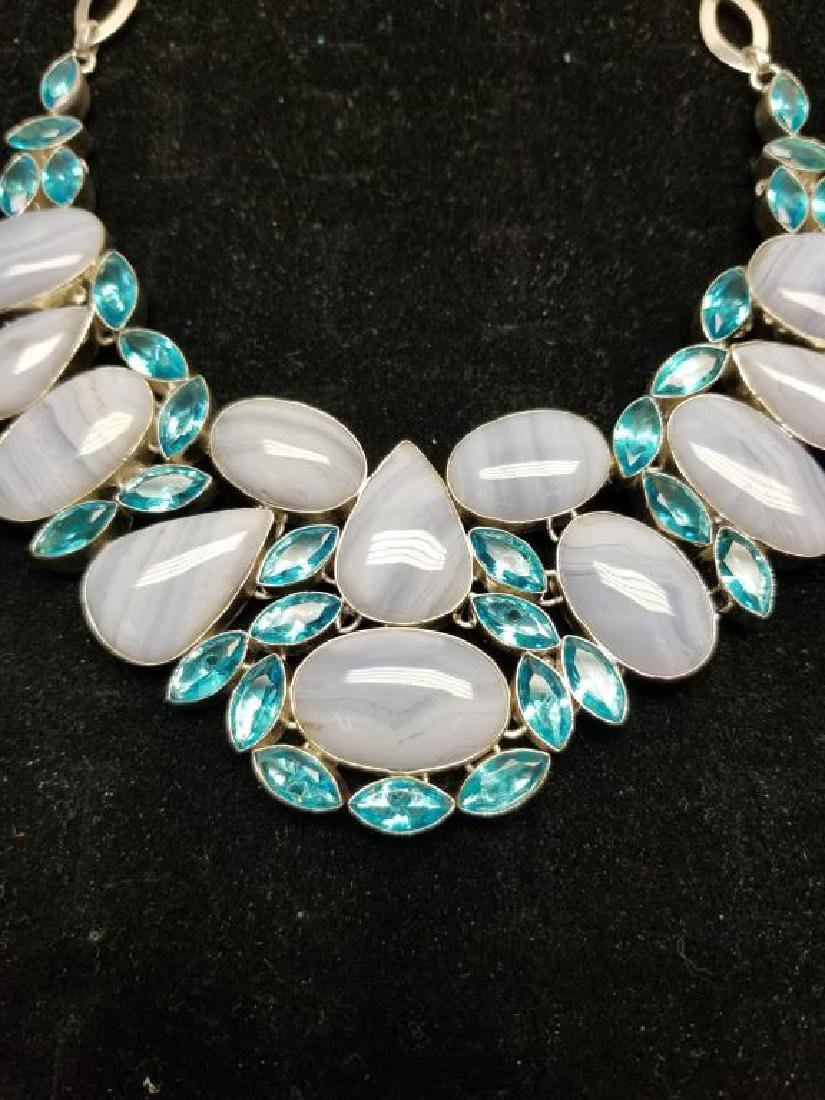 Sterling Necklace w/ Lace Agate & Blue Topaz - 3