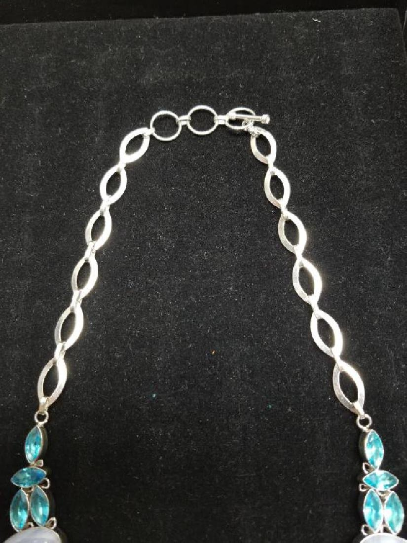 Sterling Necklace w/ Lace Agate & Blue Topaz - 4
