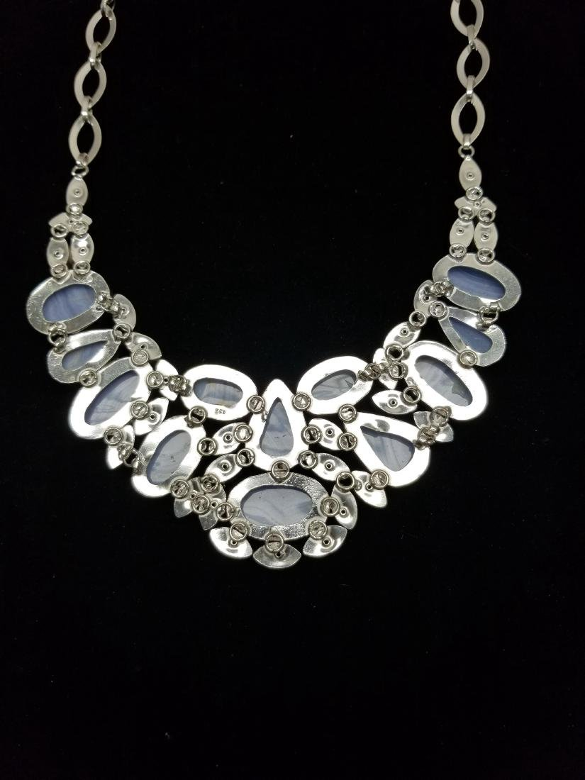 Sterling Necklace w/ Lace Agate & Blue Topaz - 5