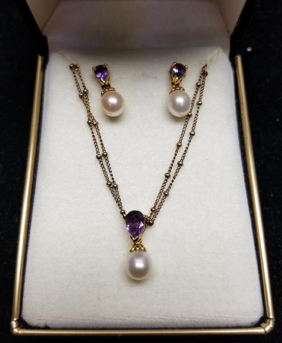 Sterling & Amethyst Necklace & Earring Set