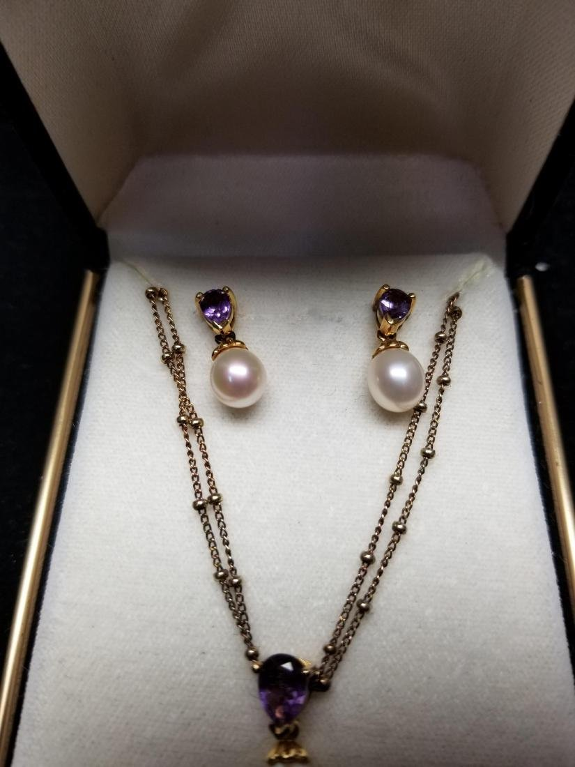 Sterling & Amethyst Necklace & Earring Set - 3