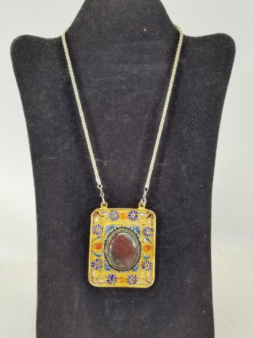 Sterling Chain w/ Brazil Agate Large Pendant