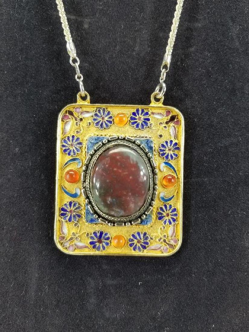 Sterling Chain w/ Brazil Agate Large Pendant - 2