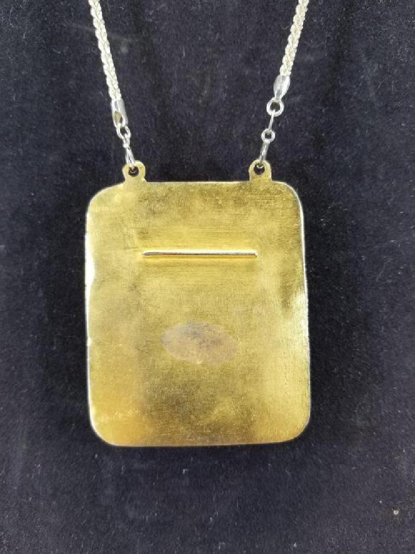 Sterling Chain w/ Brazil Agate Large Pendant - 4