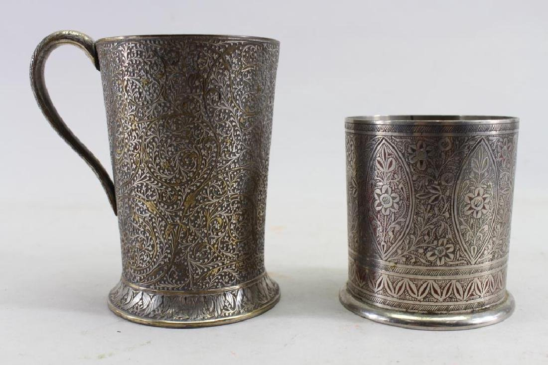 (2) Elaborately Engraved Silver Plate Cups