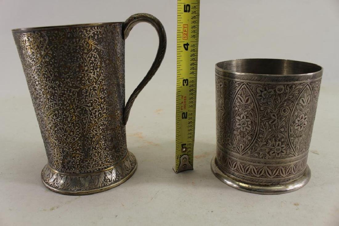 (2) Elaborately Engraved Silver Plate Cups - 3