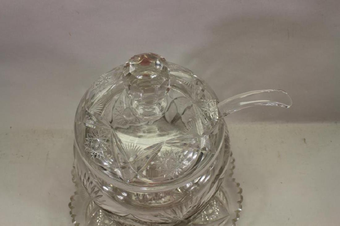 Cut Glass Punch Bowl with Under Plate - 2