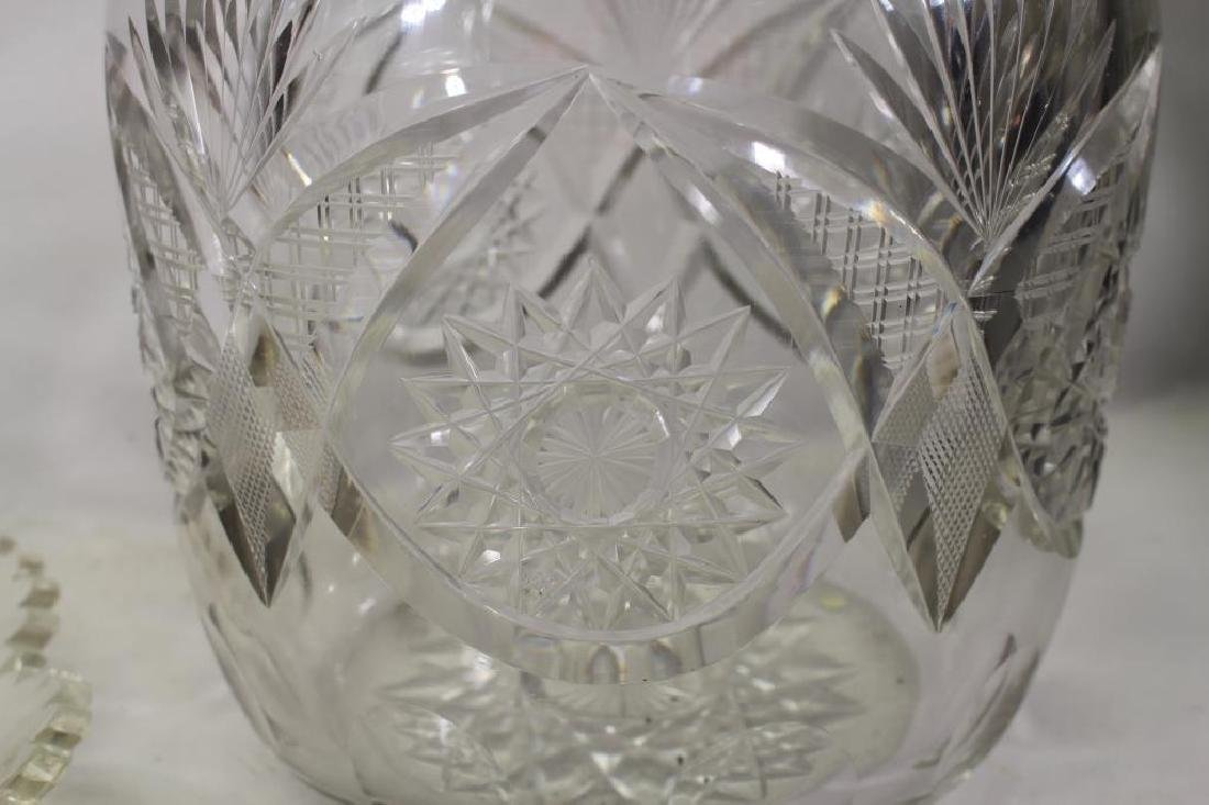 Cut Glass Punch Bowl with Under Plate - 4