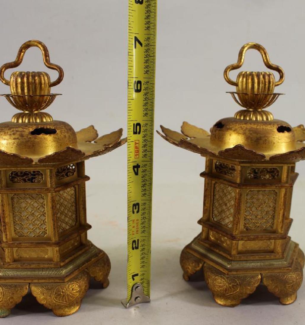 (2) Japanese Gilt Metal Shrine Lanterns - 3