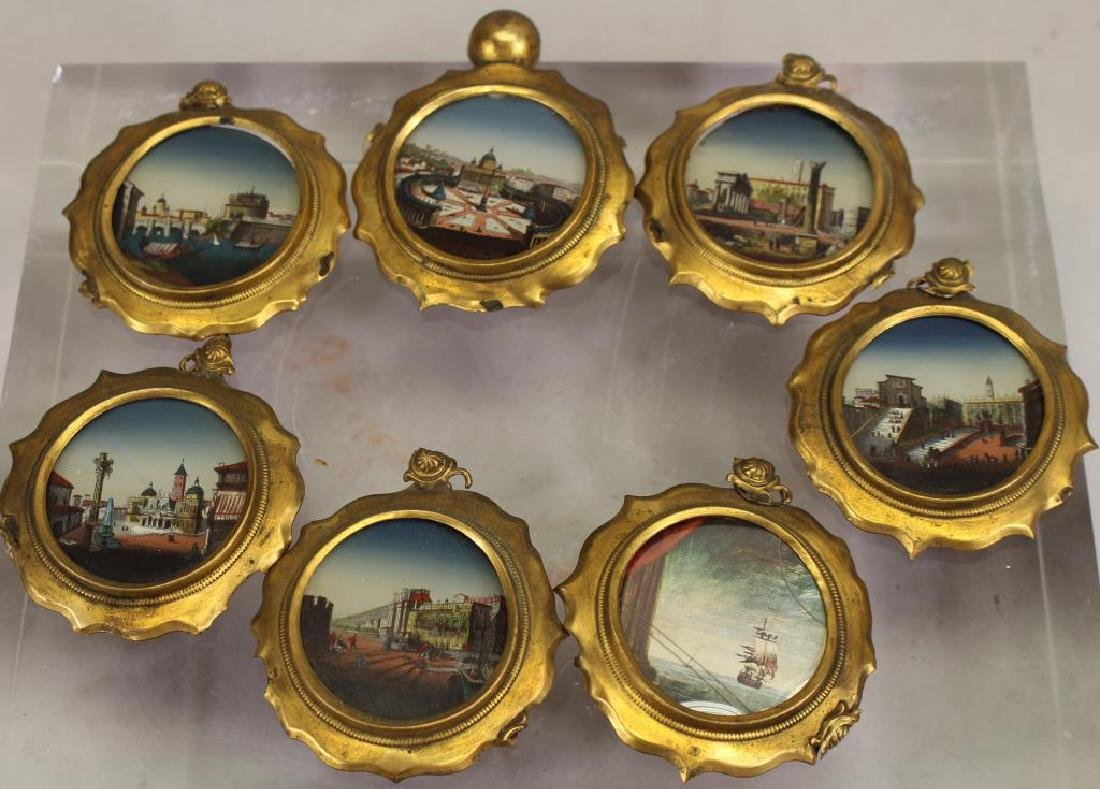 (7) European School Reverse Glass Painted Tondos