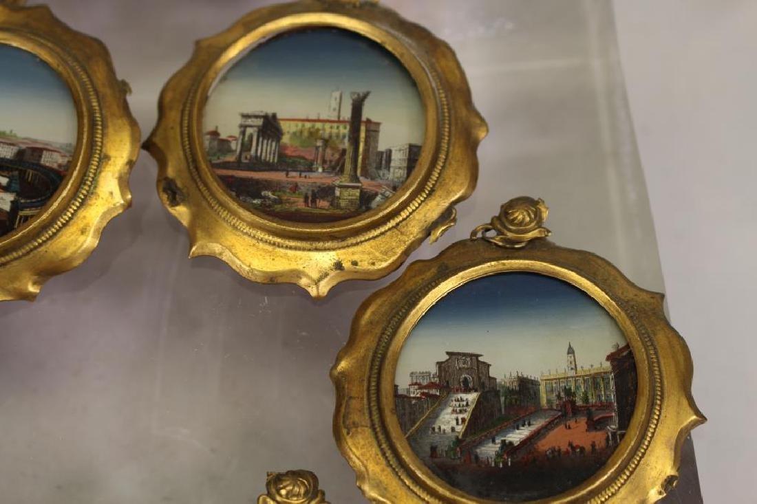 (7) European School Reverse Glass Painted Tondos - 3