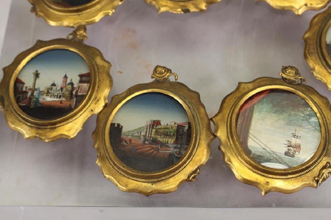 (7) European School Reverse Glass Painted Tondos - 4