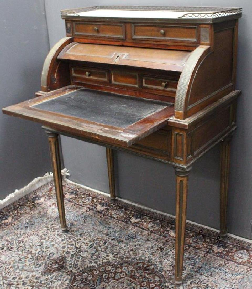 Antique French Marble Top Roll Top Desk