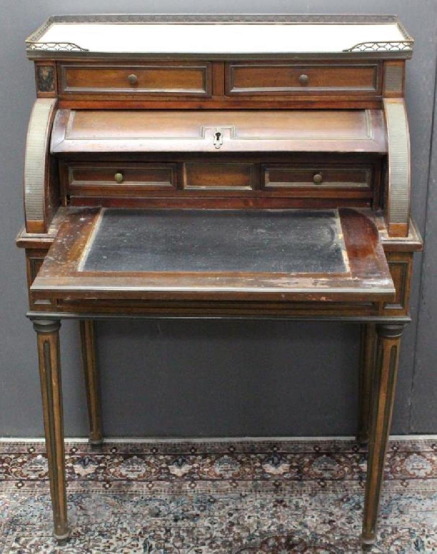 Antique French Marble Top Roll Top Desk - 2