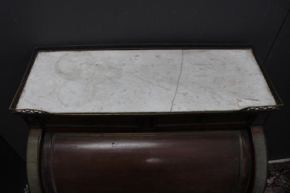 Antique French Marble Top Roll Top Desk - 4