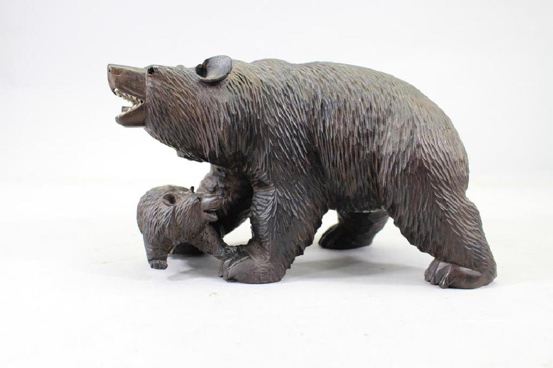 20th C. Carved Bear with Cub