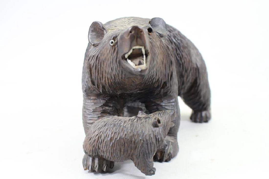 20th C. Carved Bear with Cub - 2