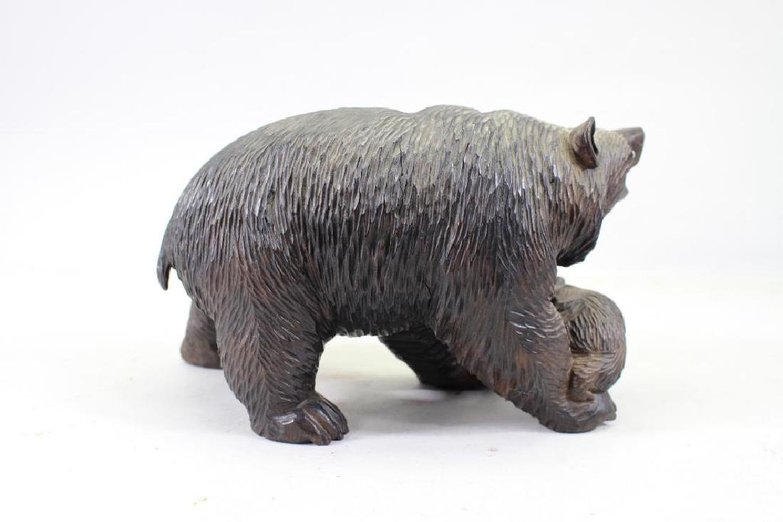 20th C. Carved Bear with Cub - 3