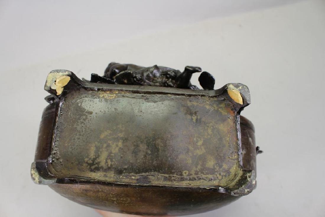 French, Bronze Twin Handled Vase with Cherub - 4