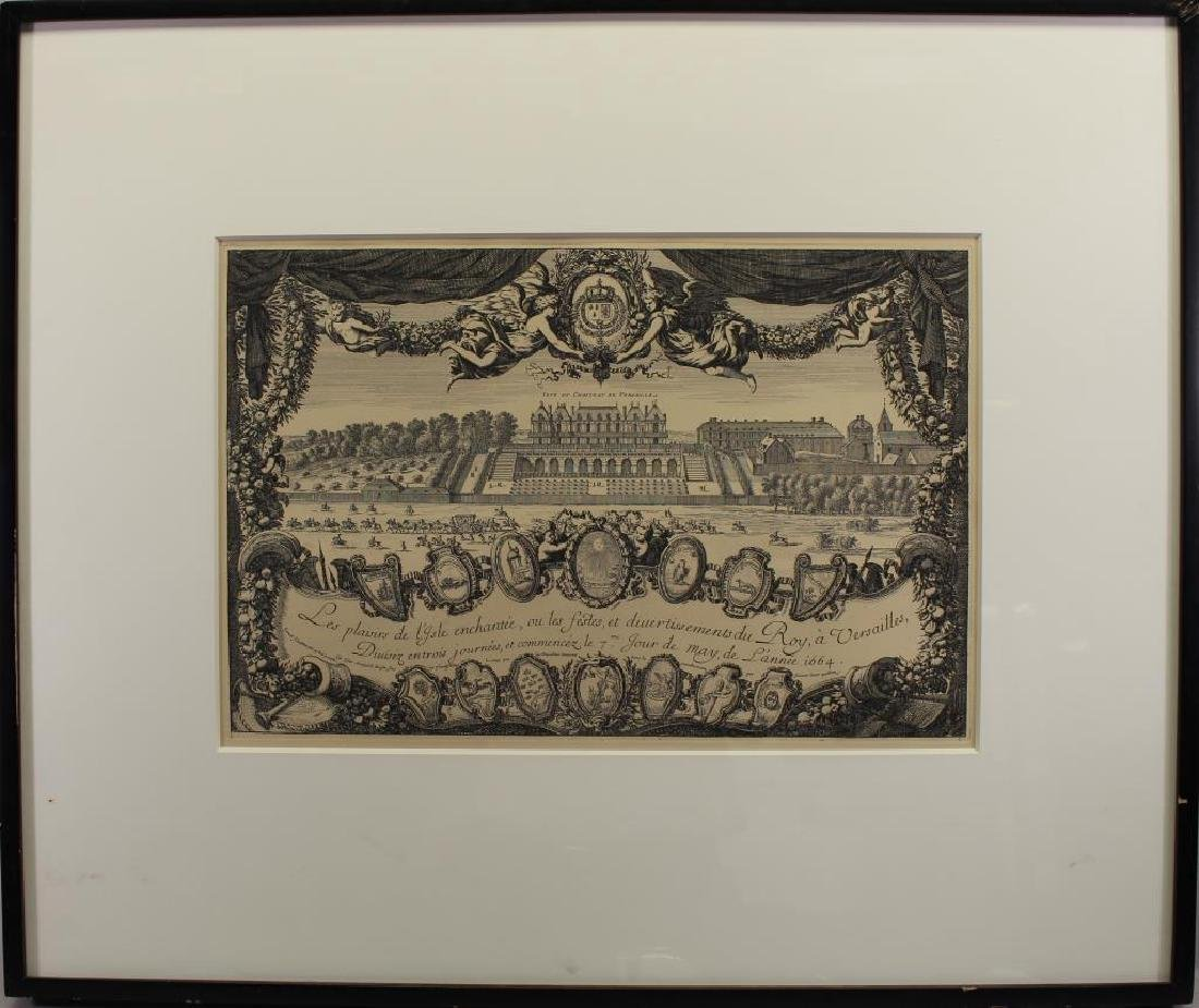 Antique Framed Engraving of Chateau De Versailles