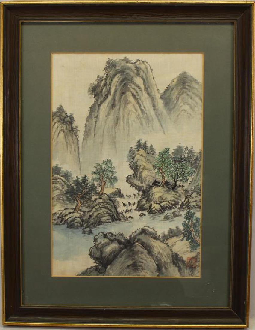 20th C. Chinese Watercolor/Ink Landscape