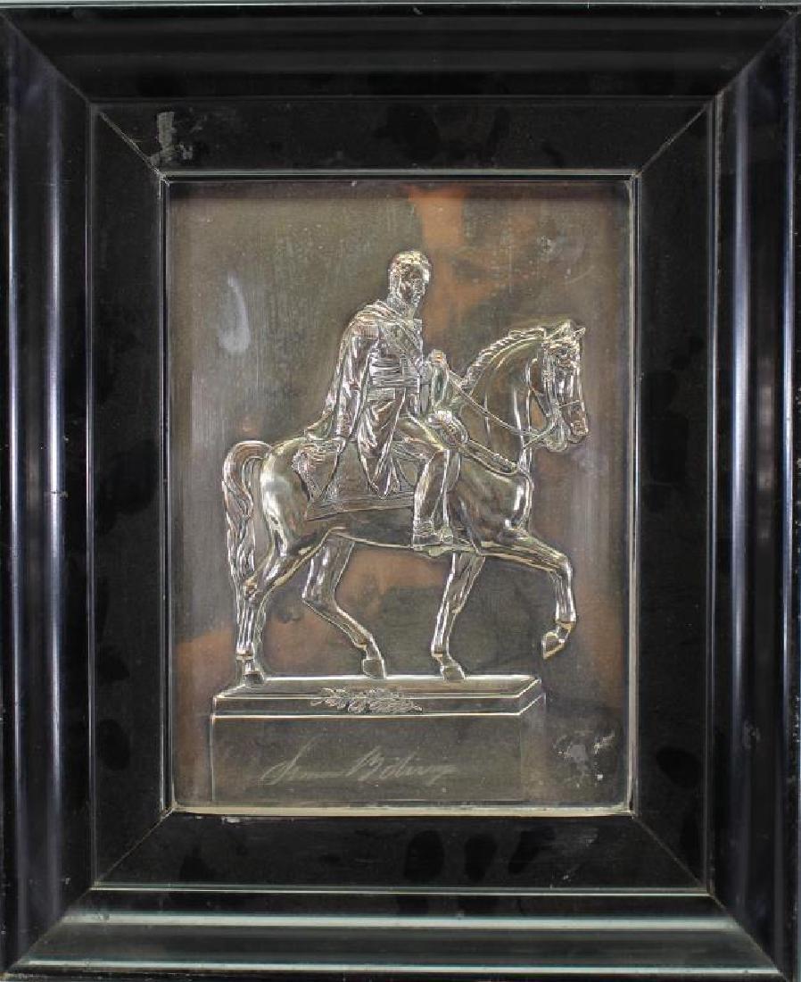 Framed Silverplate Simon Bolivar on Horseback