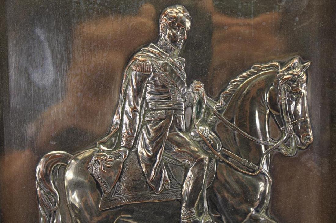 Framed Silverplate Simon Bolivar on Horseback - 2