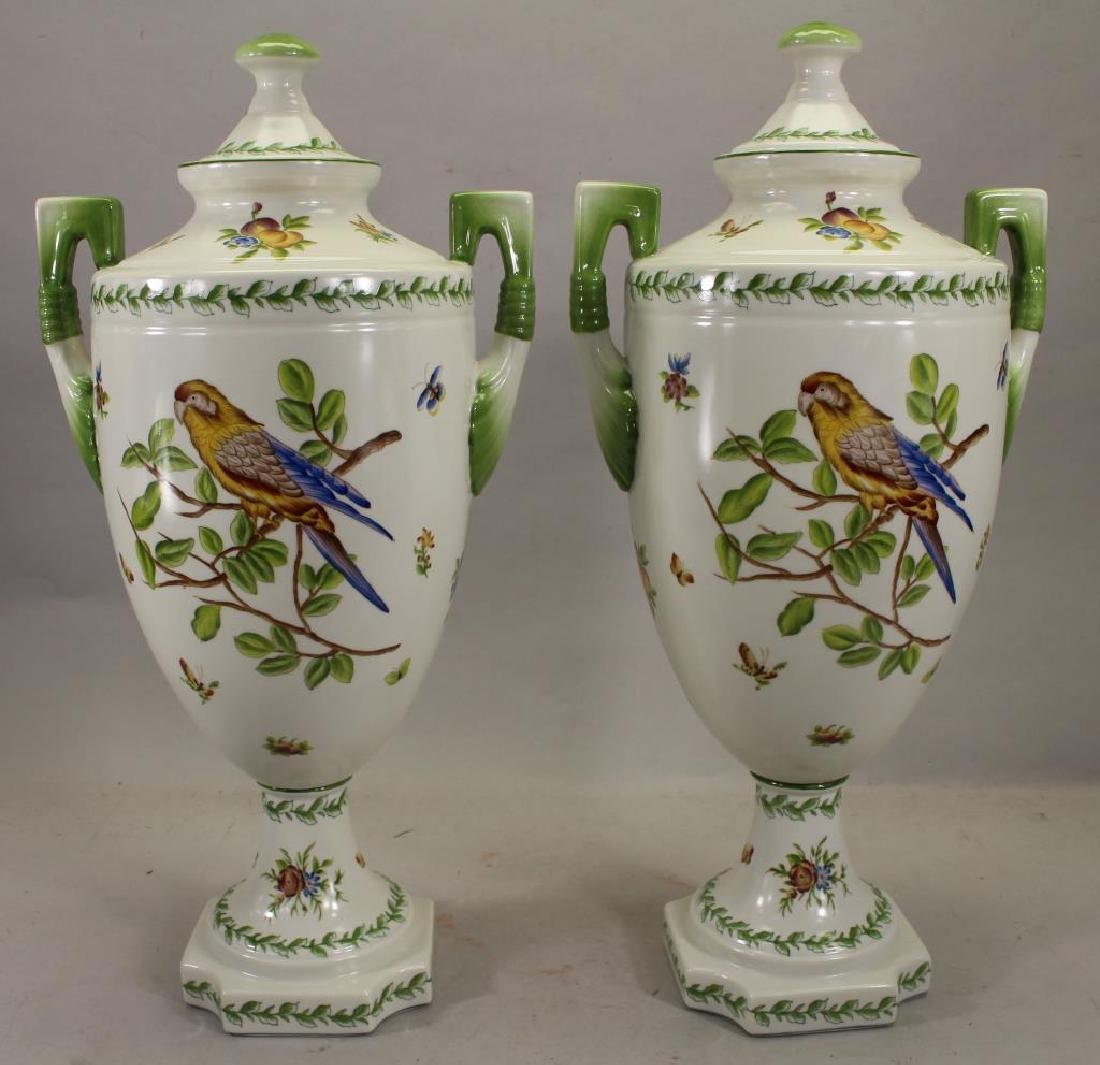 Pair Of Speer Collectible Painted Bird Vases - 2