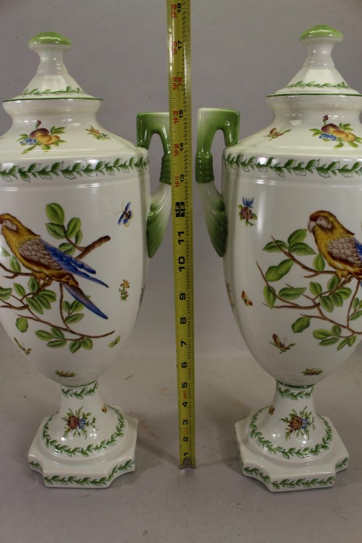 Pair Of Speer Collectible Painted Bird Vases - 3