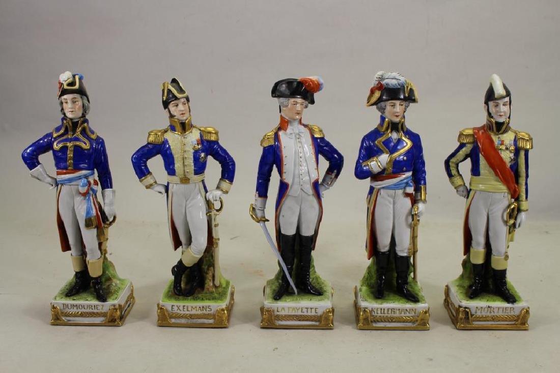 Set of 5 European Soldier Porcelain Figures - 2
