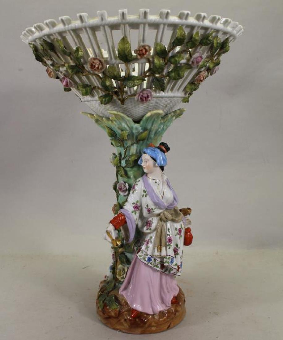 European Figural Porcelain Centerpiece, Signed