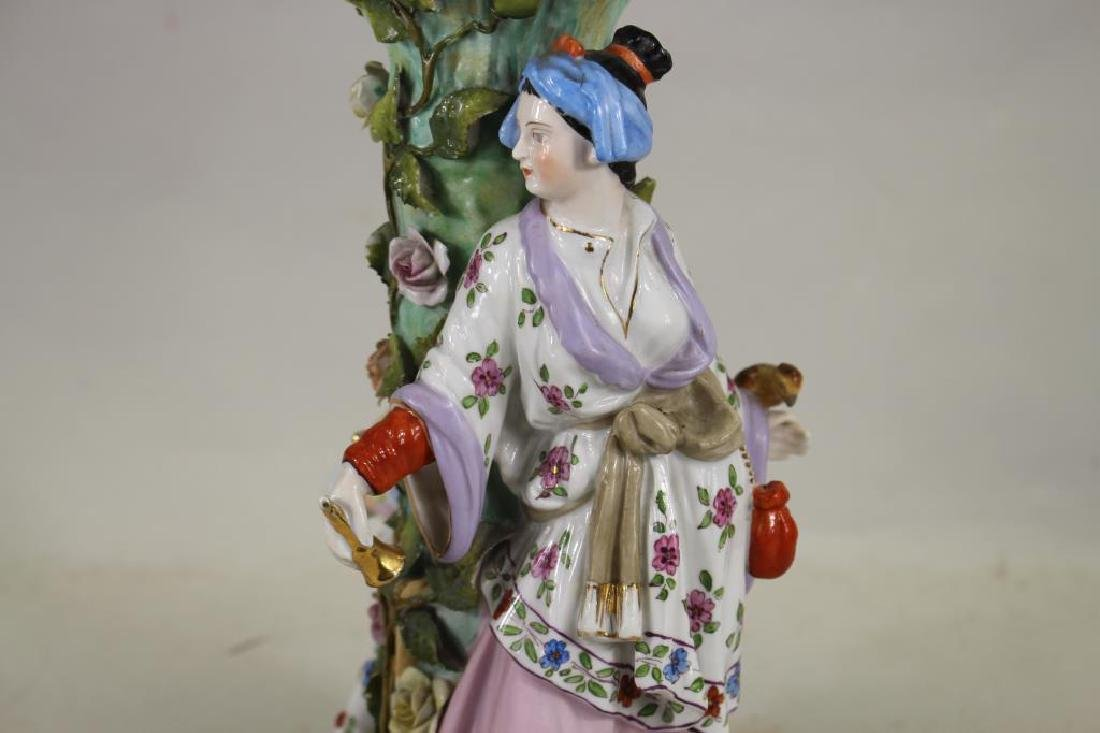 European Figural Porcelain Centerpiece, Signed - 2
