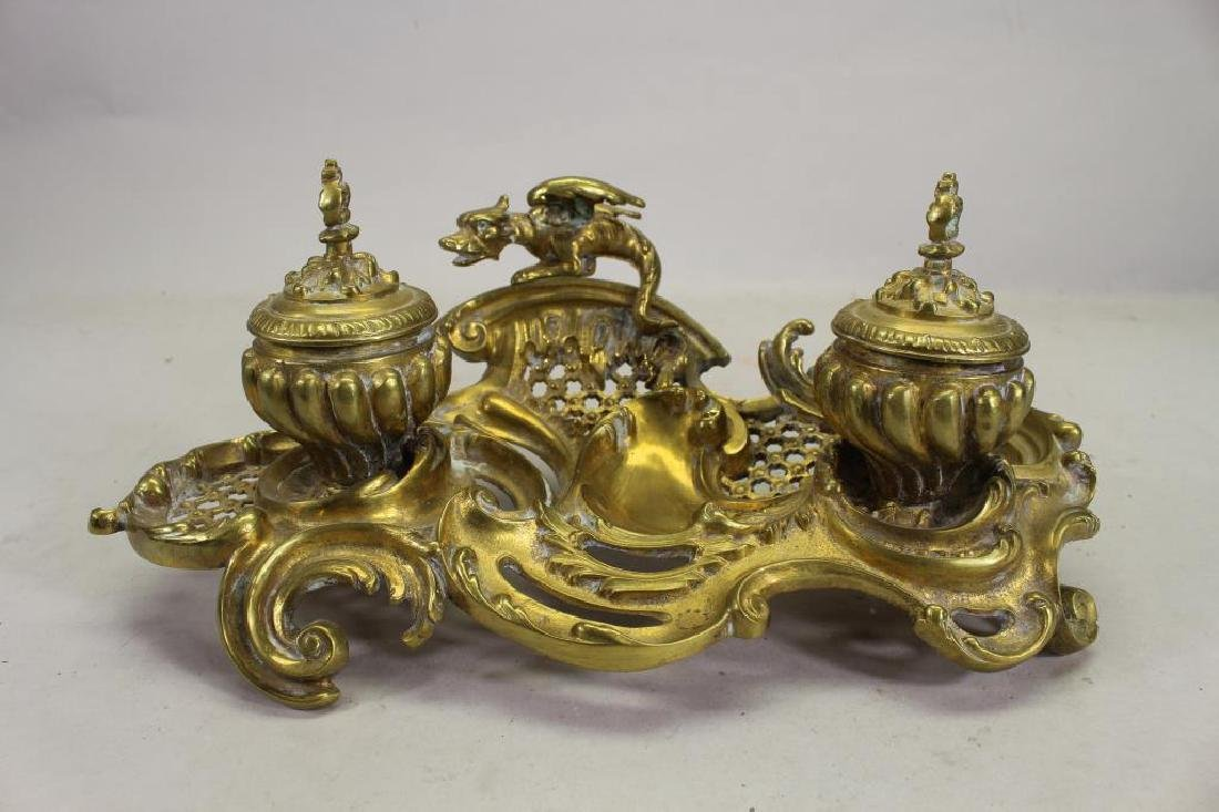 Antique French Gilt Bronze Griffin Inkwell