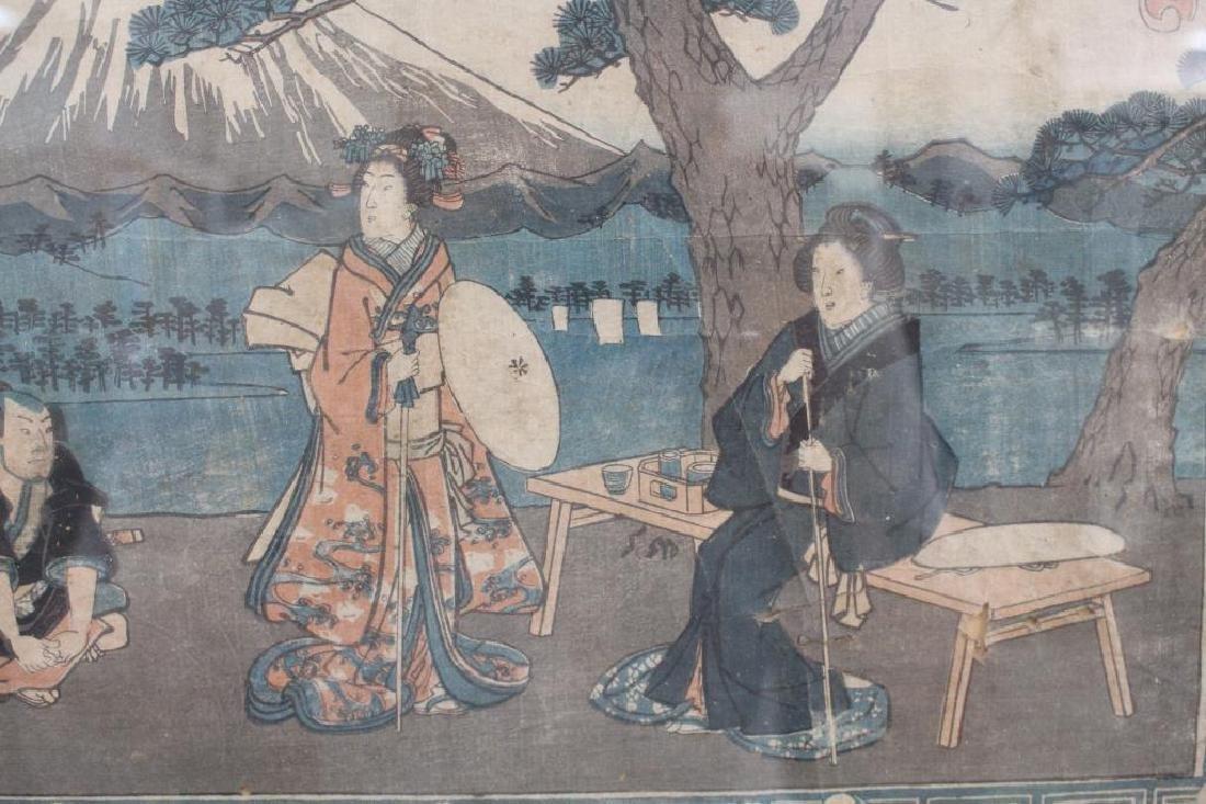 Antique Japanese Woodblock Print, Framed - 4