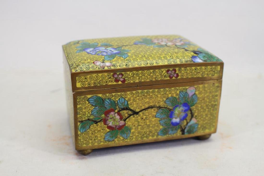 Vintage Chinese Cloisonne Yellow Ground Box