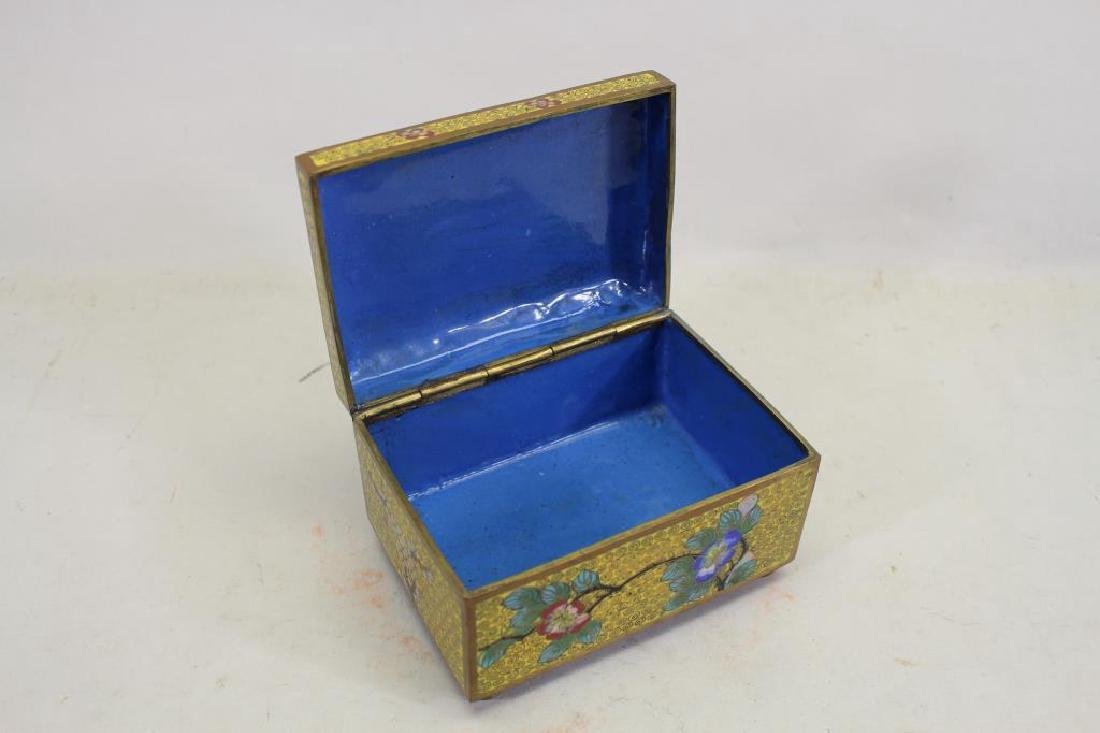 Vintage Chinese Cloisonne Yellow Ground Box - 2