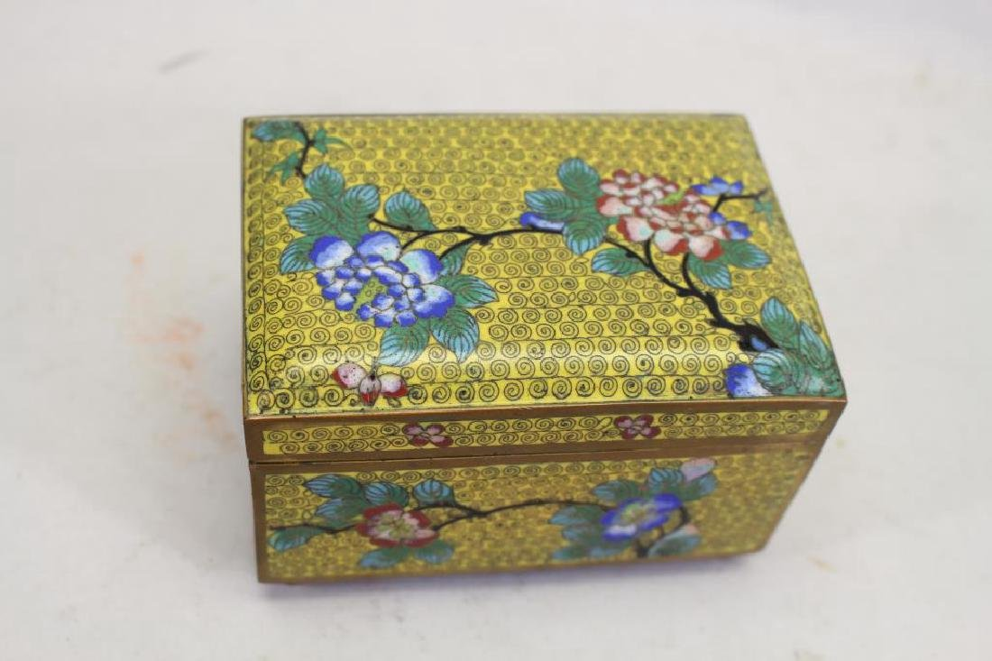 Vintage Chinese Cloisonne Yellow Ground Box - 3