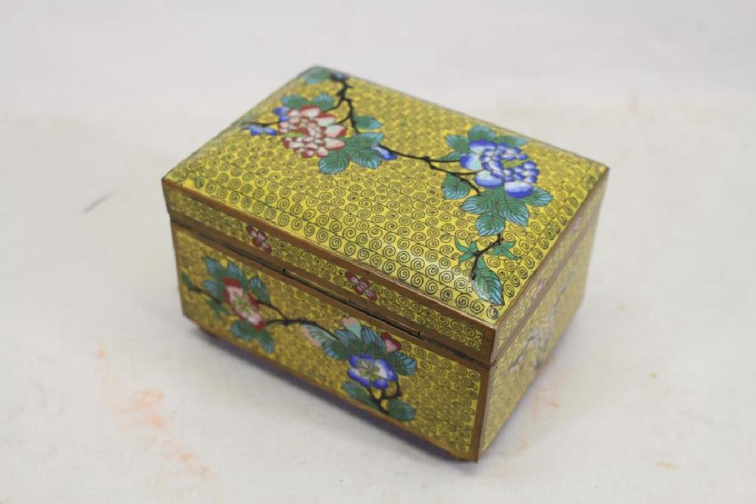 Vintage Chinese Cloisonne Yellow Ground Box - 4