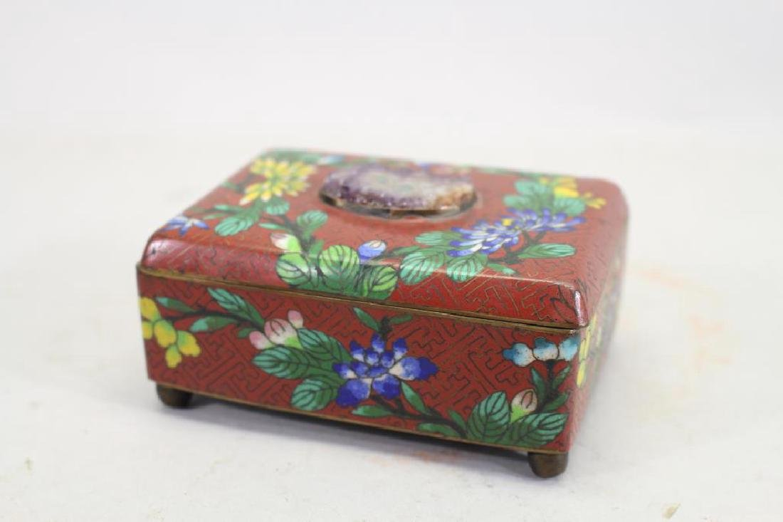 Vintage Chinese Cloisonne Red Ground Box