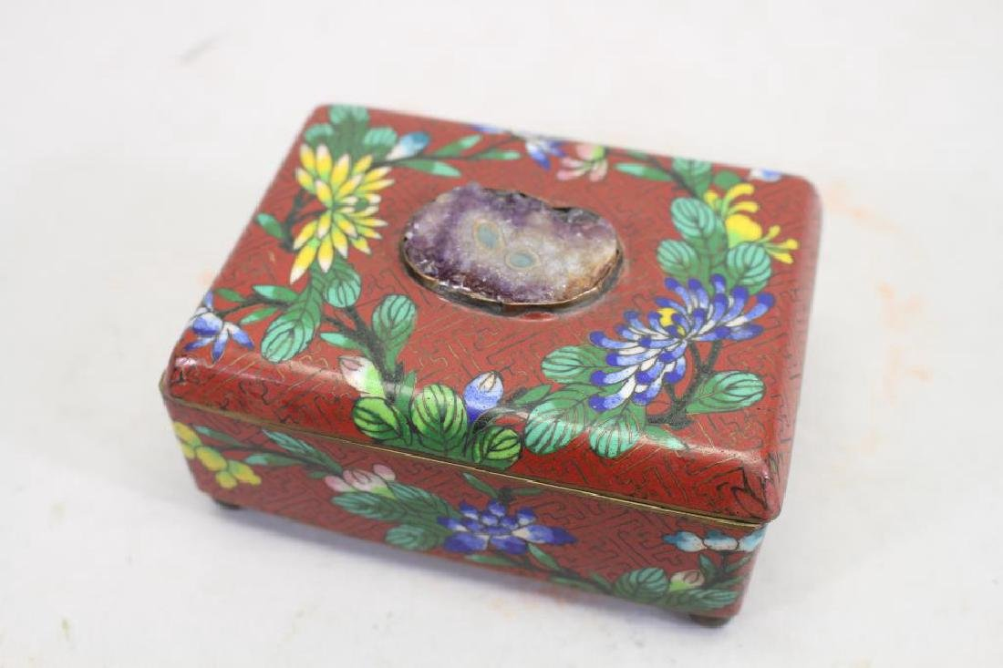 Vintage Chinese Cloisonne Red Ground Box - 2