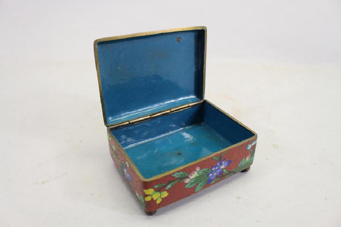 Vintage Chinese Cloisonne Red Ground Box - 3