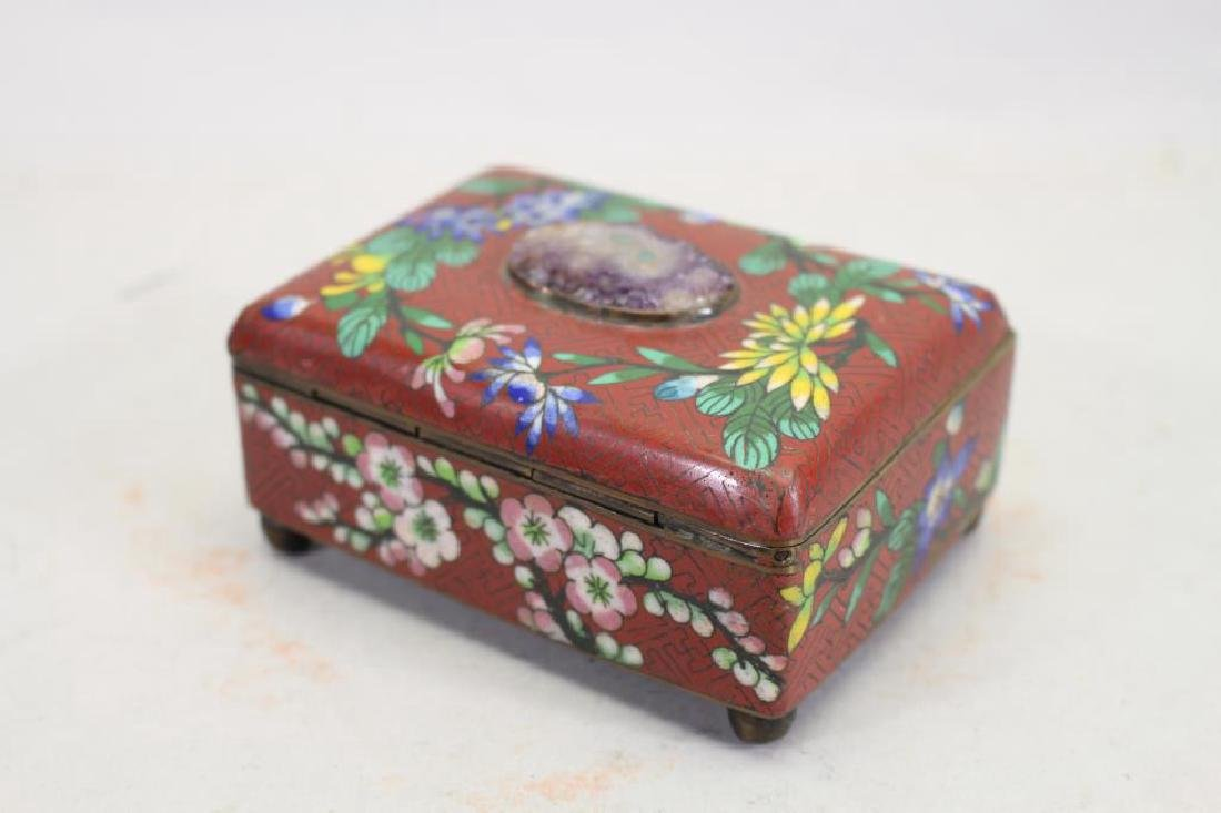 Vintage Chinese Cloisonne Red Ground Box - 4