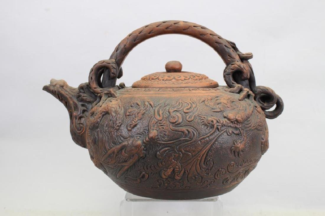 Chinese Terracotta Tea Pot, Signed - 5