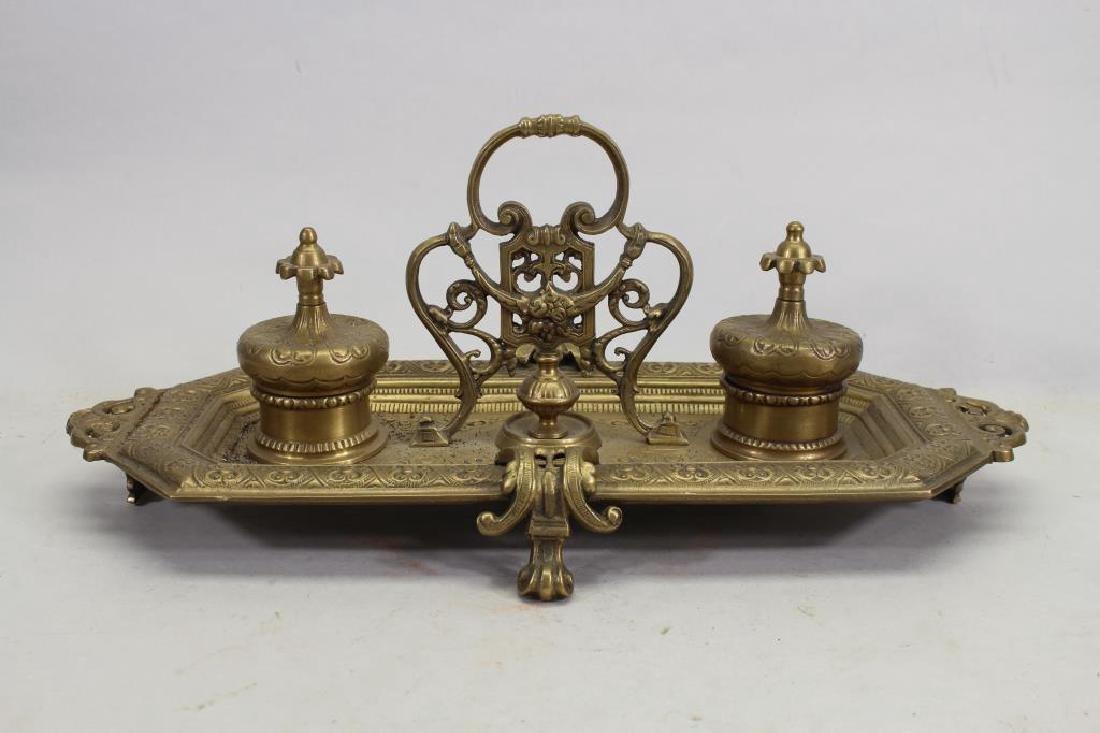 Antique Bronze Inkwell